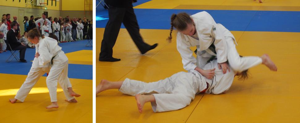 2 Bilder von den Kämpfen,  eines im Stand,  das zweite im Bodenkampf